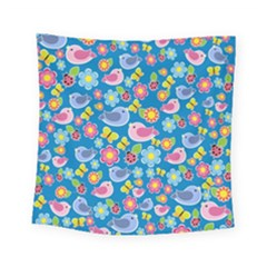 Spring pattern - blue Square Tapestry (Small)