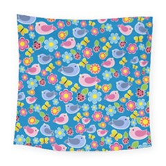Spring pattern - blue Square Tapestry (Large)