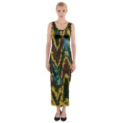 Painted waves                                                         Fitted Maxi Dress