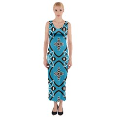 Ornamental flowers pattern                                                         Fitted Maxi Dress