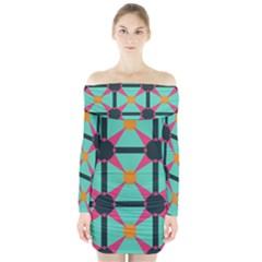 Pink stars pattern                               Long Sleeve Off Shoulder Dress
