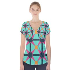 Pink stars pattern                                                             Short Sleeve Front Detail Top