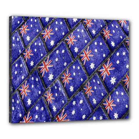Australian Flag Urban Grunge Pattern Canvas 24  x 20