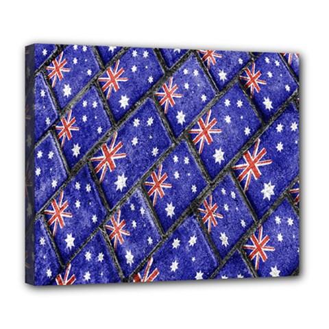 Australian Flag Urban Grunge Pattern Deluxe Canvas 24  x 20