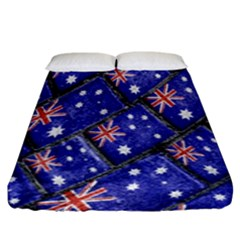 Australian Flag Urban Grunge Pattern Fitted Sheet (King Size)