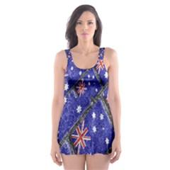 Australian Flag Urban Grunge Pattern Skater Dress Swimsuit
