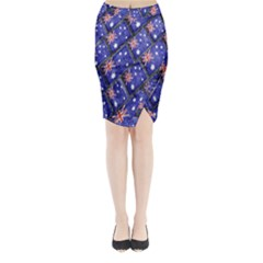 Australian Flag Urban Grunge Pattern Midi Wrap Pencil Skirt