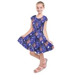 Australian Flag Urban Grunge Pattern Kids  Short Sleeve Dress
