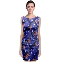 Australian Flag Urban Grunge Pattern Sleeveless Velvet Midi Dress