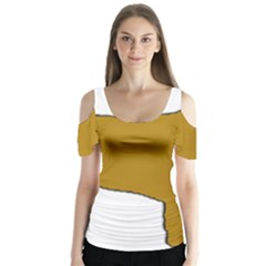 Leonberger Color Silo Butterfly Sleeve Cutout Tee