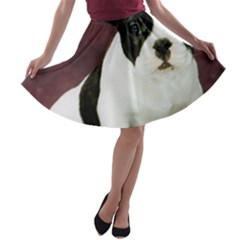 Brindle Pied French Bulldog Puppy A-line Skater Skirt
