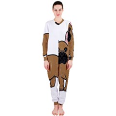 French Bulldog Tan Cartoon OnePiece Jumpsuit (Ladies)
