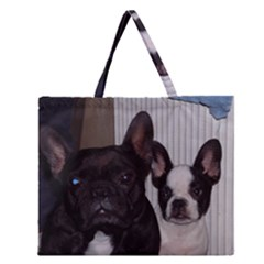 2 French Bulldogs Zipper Large Tote Bag