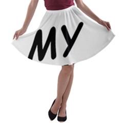French Bulldog Love A-line Skater Skirt