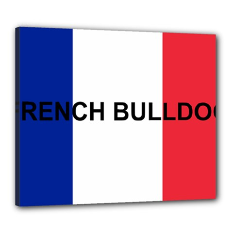 French Bulldog France Flag Canvas 24  x 20
