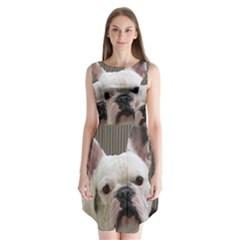 French Bulldog White Sleeveless Chiffon Dress