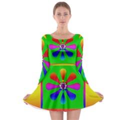 Flower Mosaic Long Sleeve Skater Dress