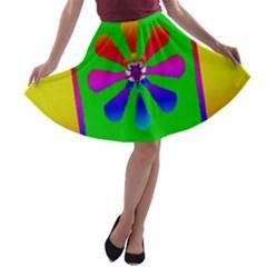 Flower Mosaic A Line Skater Skirt