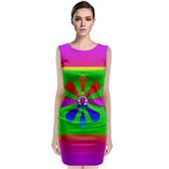 Flower Mosaic Sleeveless Velvet Midi Dress