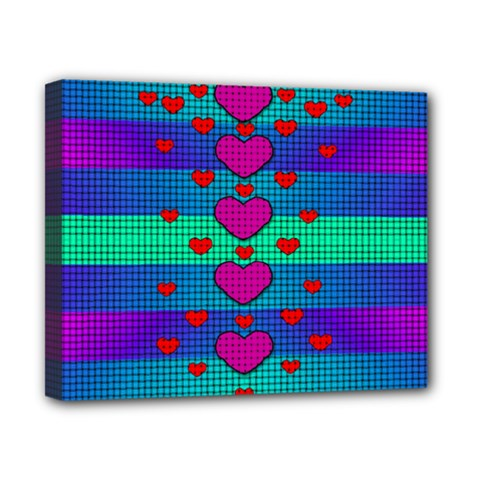 Hearts Weave Canvas 10  X 8