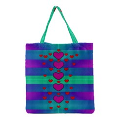 Hearts Weave Grocery Tote Bag