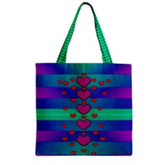Hearts Weave Zipper Grocery Tote Bag