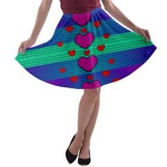 Hearts Weave A-line Skater Skirt