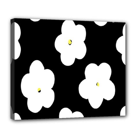 April Fun Pop Floral Flower Black White Yellow Rose Deluxe Canvas 24  x 20