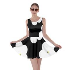 April Fun Pop Floral Flower Black White Yellow Rose Skater Dress