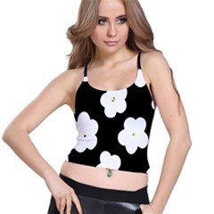 April Fun Pop Floral Flower Black White Yellow Rose Spaghetti Strap Bra Top