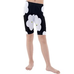 April Fun Pop Floral Flower Black White Yellow Rose Kids  Mid Length Swim Shorts