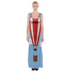 Air Ballon Blue Sky Cloud Maxi Thigh Split Dress