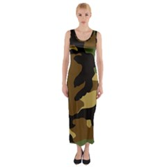 Army Camouflage Fitted Maxi Dress