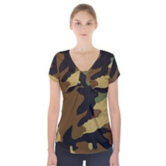 Army Camouflage Short Sleeve Front Detail Top