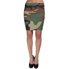 Army Shirt Green Brown Grey Black Bodycon Skirt