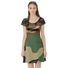 Army Shirt Green Brown Grey Black Short Sleeve Skater Dress