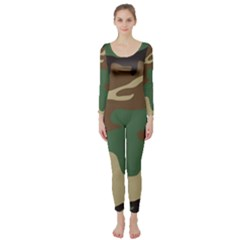 Army Shirt Green Brown Grey Black Long Sleeve Catsuit
