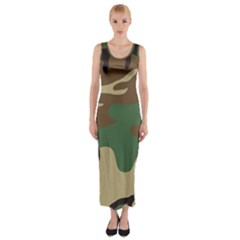 Army Shirt Green Brown Grey Black Fitted Maxi Dress