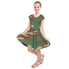 Army Shirt Green Brown Grey Black Kids  Short Sleeve Dress