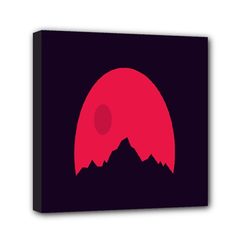 Awesome Photos Collection Minimalist Moon Night Red Sun Mini Canvas 6  x 6