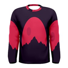 Awesome Photos Collection Minimalist Moon Night Red Sun Men s Long Sleeve Tee