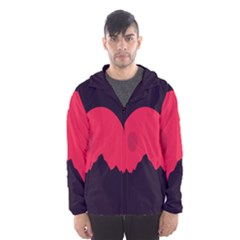 Awesome Photos Collection Minimalist Moon Night Red Sun Hooded Wind Breaker (Men)