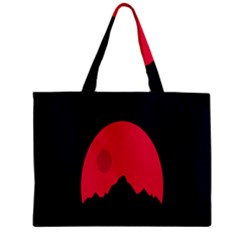 Awesome Photos Collection Minimalist Moon Night Red Sun Zipper Mini Tote Bag