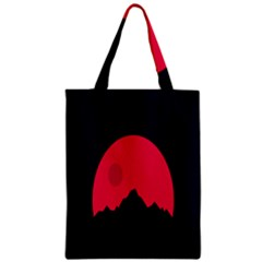 Awesome Photos Collection Minimalist Moon Night Red Sun Zipper Classic Tote Bag