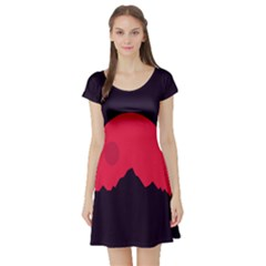 Awesome Photos Collection Minimalist Moon Night Red Sun Short Sleeve Skater Dress
