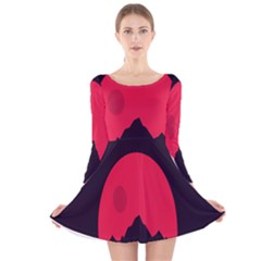 Awesome Photos Collection Minimalist Moon Night Red Sun Long Sleeve Velvet Skater Dress