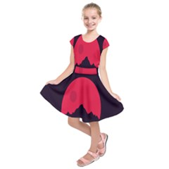 Awesome Photos Collection Minimalist Moon Night Red Sun Kids  Short Sleeve Dress
