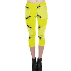 Ant Yellow Circle Capri Leggings