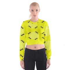 Ant Yellow Circle Women s Cropped Sweatshirt