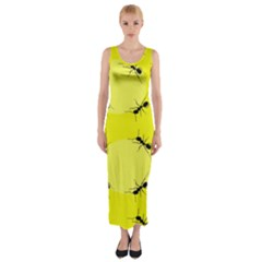 Ant Yellow Circle Fitted Maxi Dress